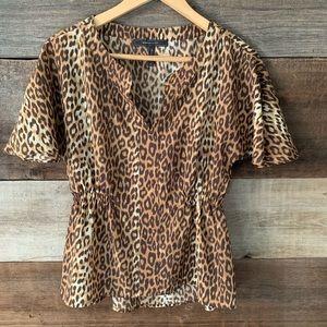 BCBGMaxAzria Leopard Print V-Neck Blouse Size XS